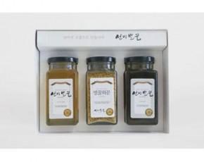 [선비벌꿀 영농조합] 이리오너라 3호 선물세트 (아카시아꿀 400그램 + 야생화꿀 400그램 + 화분 170그램) 선비벌꿀