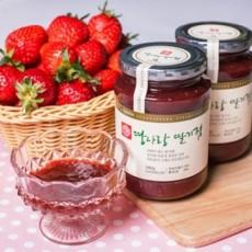 [전통 수제 땅사랑딸기잼]딸기쨈(딸기+황설탕)580g x 2병