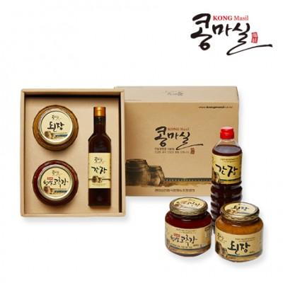 콩마실 선물세트1호 (전통된장 현미찹쌀고추장, 전통간장)