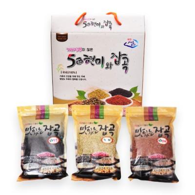 [또바기] 오색현미 3곡 혼합 1.5kg (녹미,찰홍미,찰진주 각 500g)