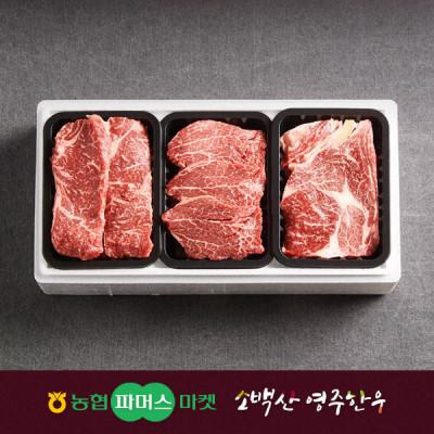 [21년설/냉장]소백산영주한우 정성 1+ 구이세트6호 등심/안심/채끝 / 1.8kg