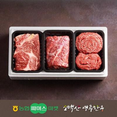 [21년설/냉장]소백산영주한우 정성 실속 정육혼합세트4호 등심/불고기/국거리(양지) / 1.5kg
