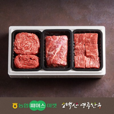 [21년설/냉장]소백산영주한우 정성 실속 정육혼합세트7호 불고기/국거리(양지)/장조림 / 1.5kg