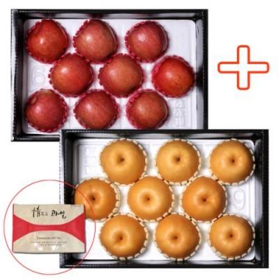 (팬캡+부직포포장) 경북사과 4kg+경북배5kg 2박스 총 9kg 이상 특대과